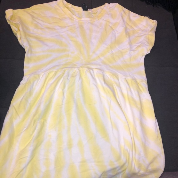 White and yellow tie dye dress